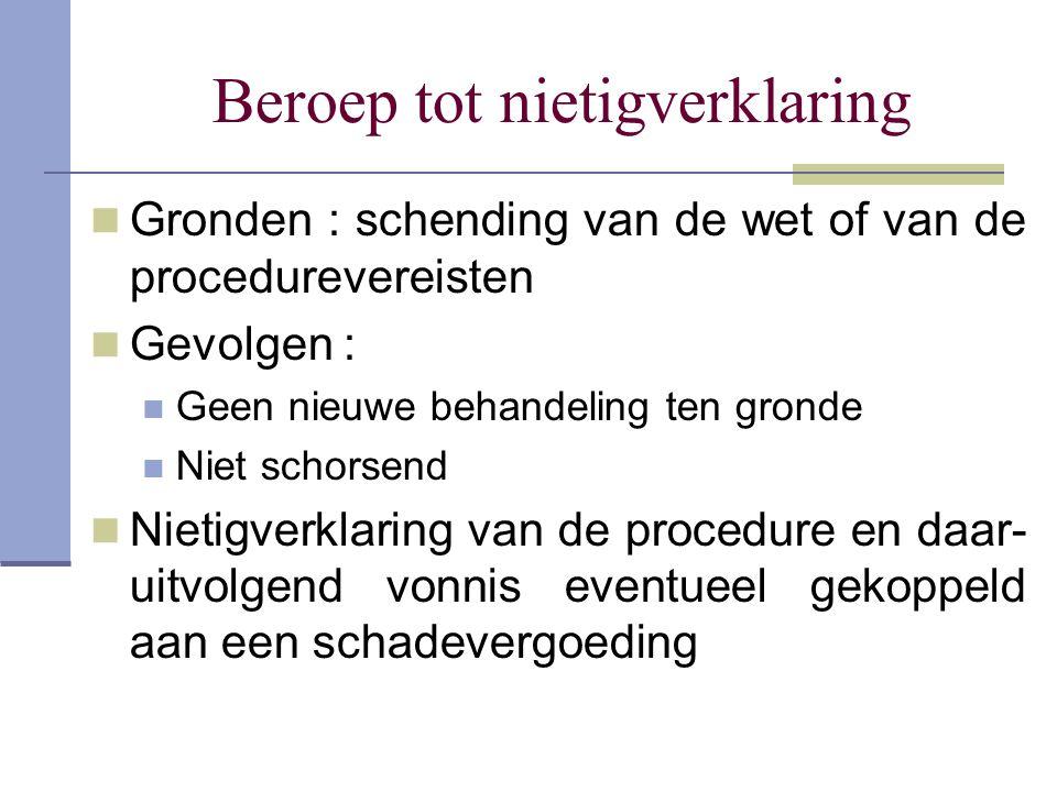 Beroep tot nietigverklaring Gronden : schending van de wet of van de procedurevereisten Gevolgen : Geen nieuwe behandeling ten gronde Niet schorsend N