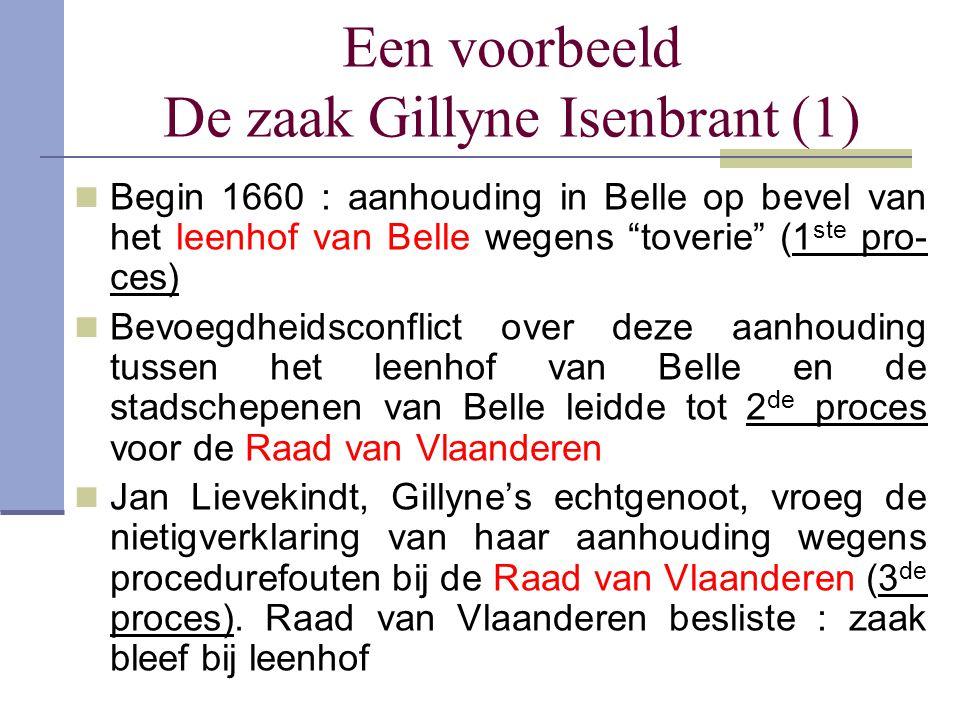 """Een voorbeeld De zaak Gillyne Isenbrant (1) Begin 1660 : aanhouding in Belle op bevel van het leenhof van Belle wegens """"toverie"""" (1 ste pro- ces) Bevo"""