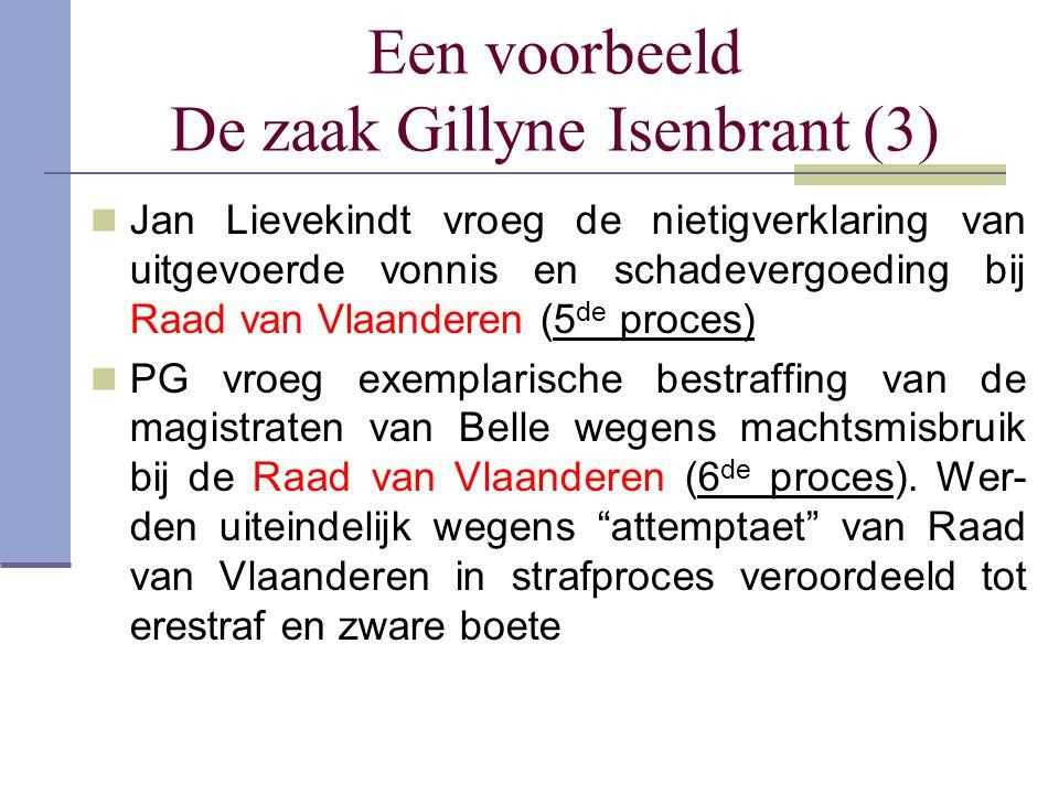 Een voorbeeld De zaak Gillyne Isenbrant (3) Jan Lievekindt vroeg de nietigverklaring van uitgevoerde vonnis en schadevergoeding bij Raad van Vlaandere