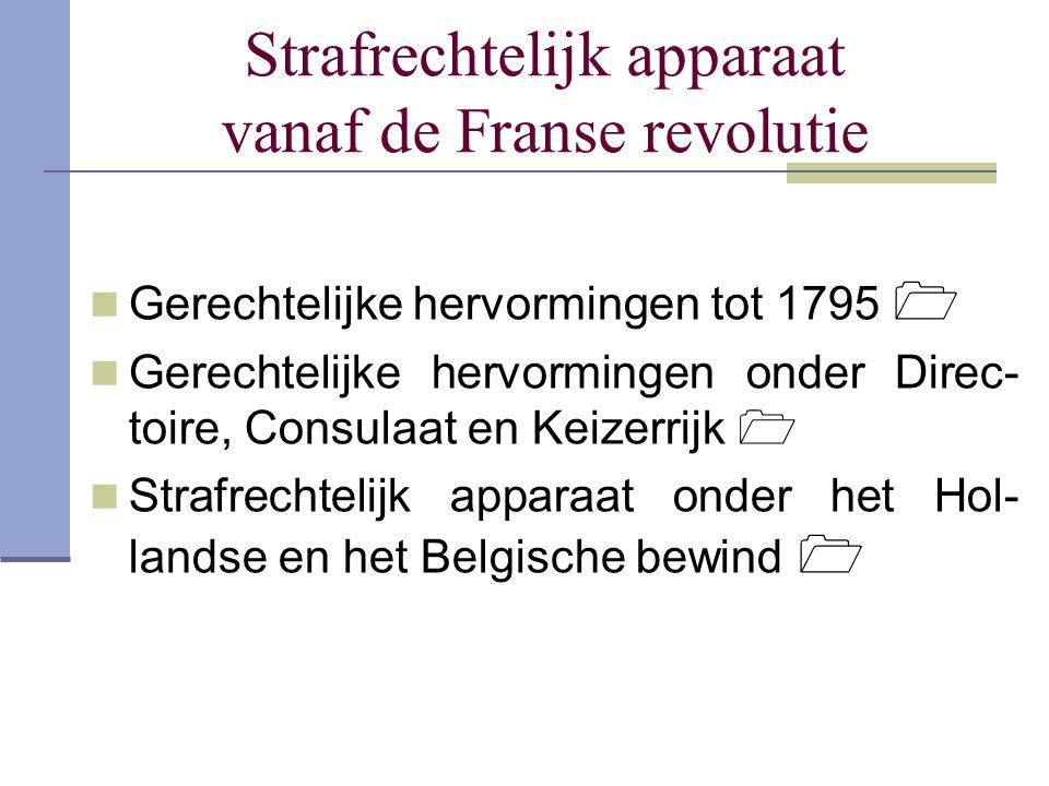 Strafrechtelijk apparaat vanaf de Franse revolutie Gerechtelijke hervormingen tot 1795  Gerechtelijke hervormingen onder Direc- toire, Consulaat en K