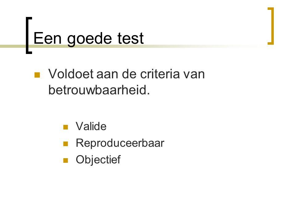 Valide test Meet dat wat je wilt meten Aëroob uithoudingsvermogen met de shuttle sprint test.(anaëroob) Sprintvermogen van een sprinter (atletiek) meet je niet op een fietsergometer.
