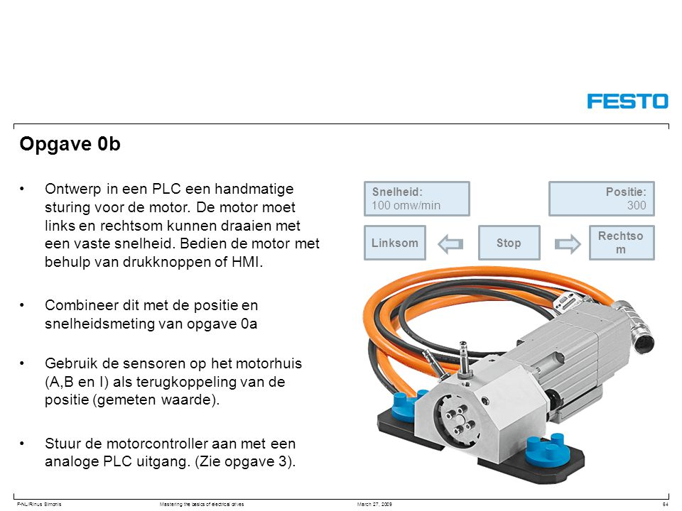 F-NL/Rinus SimonisMastering the basics of electrical drives March 27, 2009 Opgave 0b Ontwerp in een PLC een handmatige sturing voor de motor. De motor