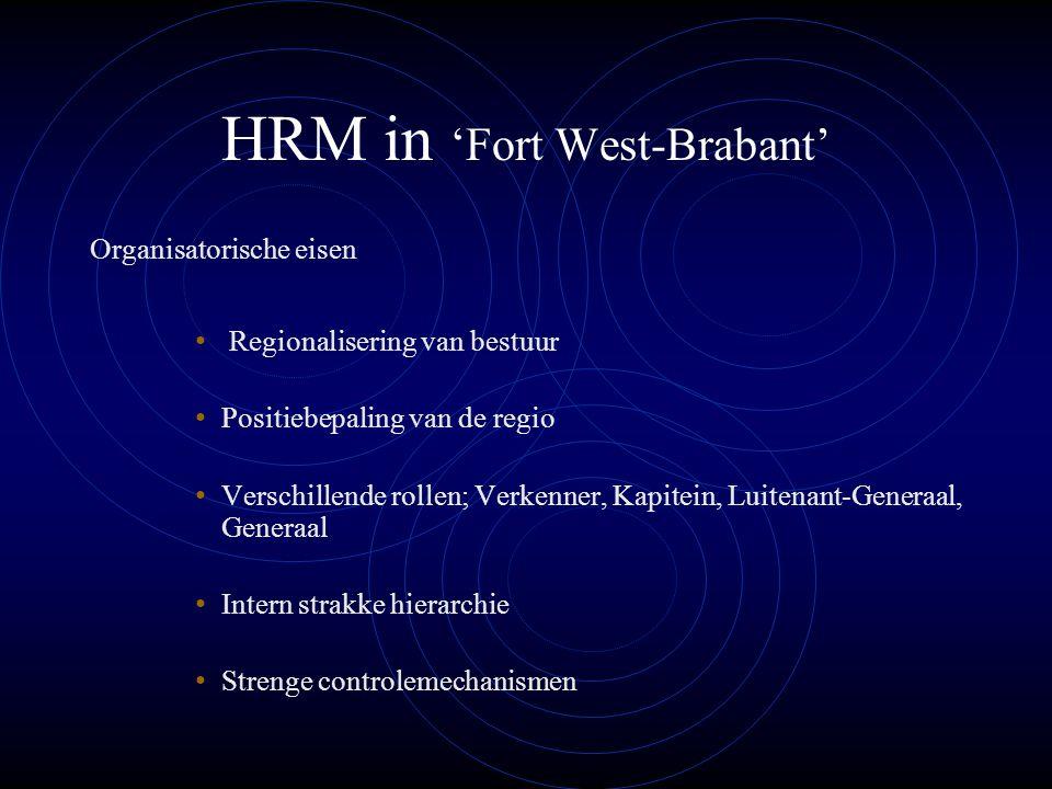 HRM in 'Fort West-Brabant' Organisatorische eisen Regionalisering van bestuur Positiebepaling van de regio Verschillende rollen; Verkenner, Kapitein, Luitenant-Generaal, Generaal Intern strakke hierarchie Strenge controlemechanismen