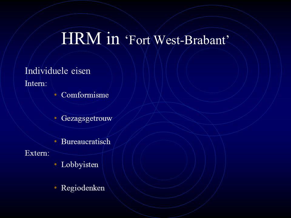 HRM in 'Fort West-Brabant' Individuele eisen Intern: Comformisme Gezagsgetrouw Bureaucratisch Extern: Lobbyisten Regiodenken
