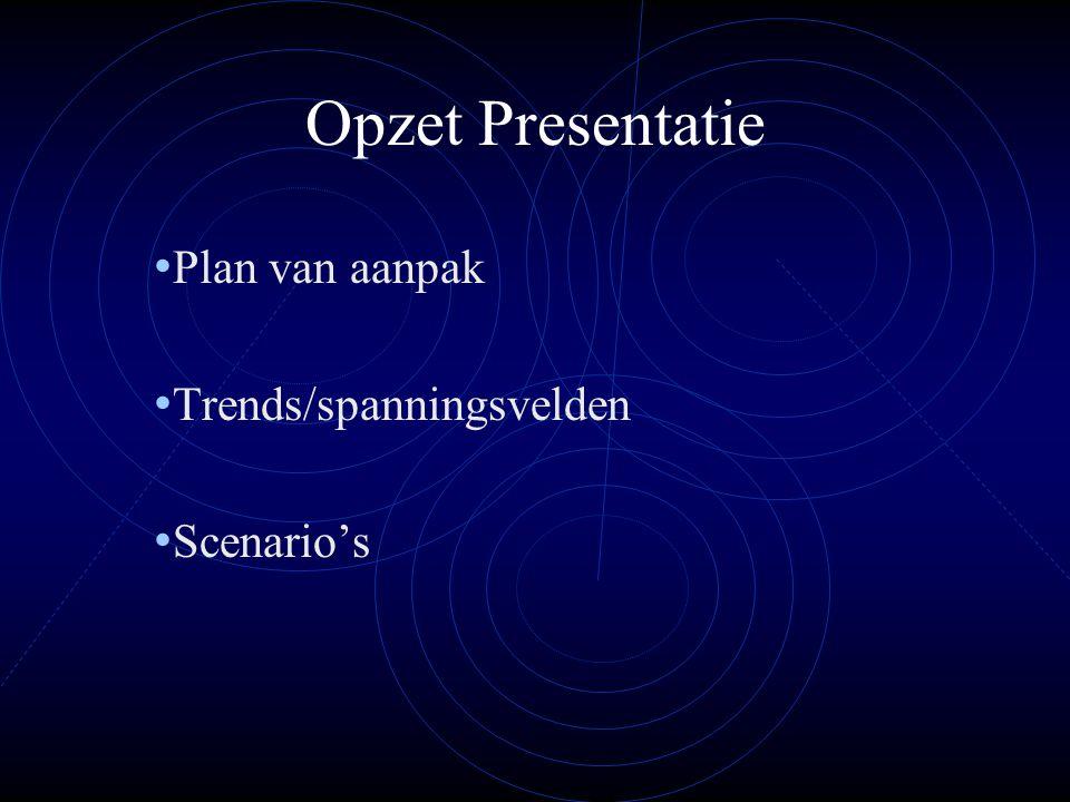 Opzet Presentatie Plan van aanpak Trends/spanningsvelden Scenario's