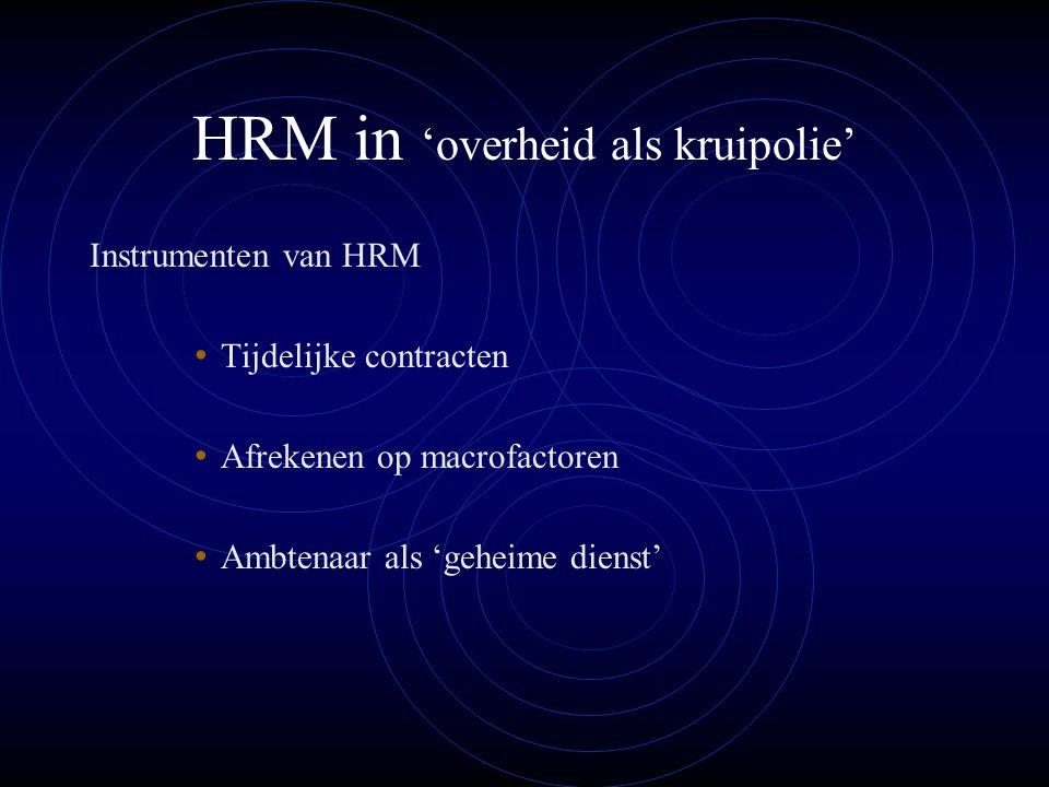 HRM in 'overheid als kruipolie' Instrumenten van HRM Tijdelijke contracten Afrekenen op macrofactoren Ambtenaar als 'geheime dienst'