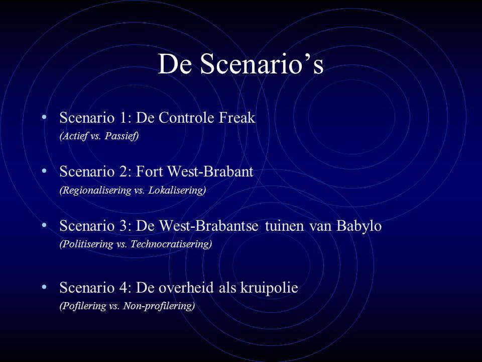 De Scenario's Scenario 1: De Controle Freak (Actief vs. Passief) Scenario 2: Fort West-Brabant (Regionalisering vs. Lokalisering) Scenario 3: De West-