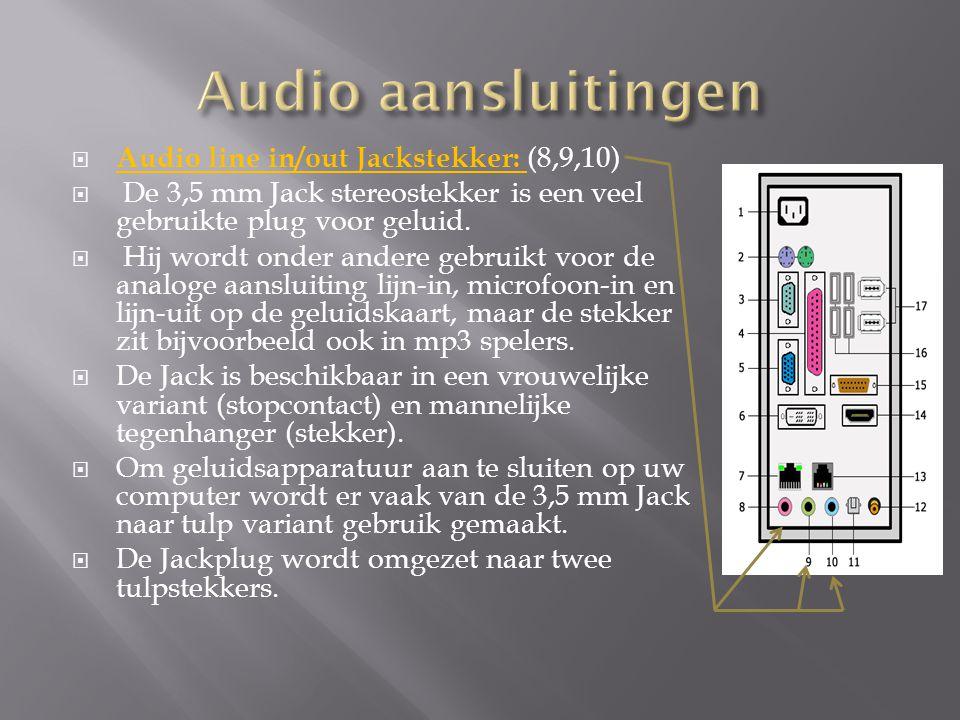  Audio line in/out Jackstekker: (8,9,10)  De 3,5 mm Jack stereostekker is een veel gebruikte plug voor geluid.