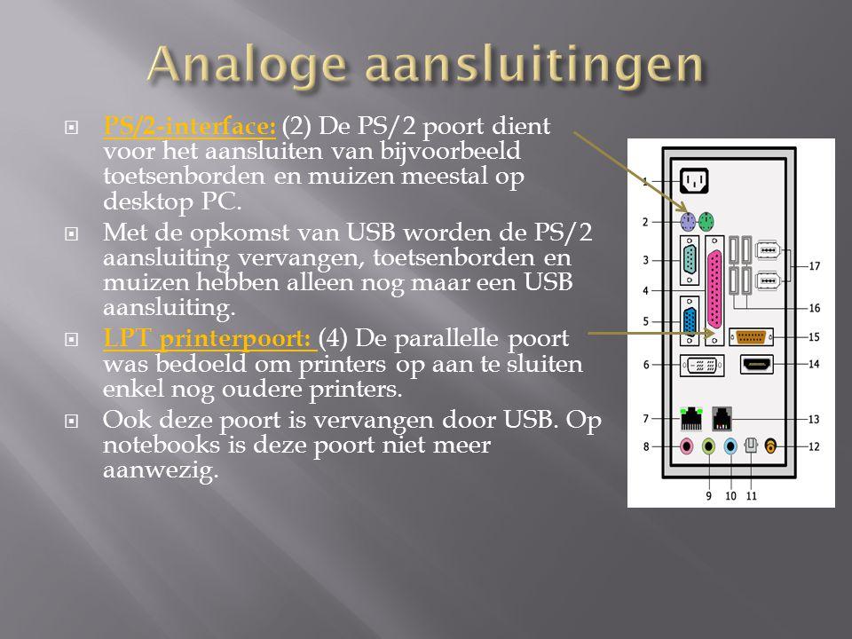  PS/2-interface: (2) De PS/2 poort dient voor het aansluiten van bijvoorbeeld toetsenborden en muizen meestal op desktop PC.
