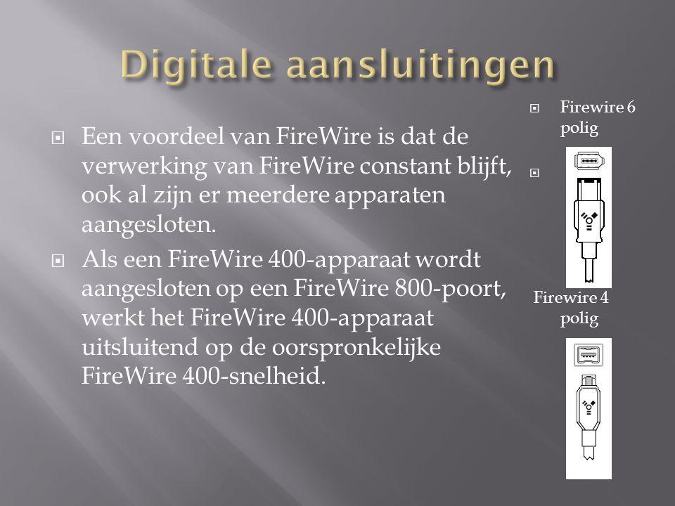  Een voordeel van FireWire is dat de verwerking van FireWire constant blijft, ook al zijn er meerdere apparaten aangesloten.