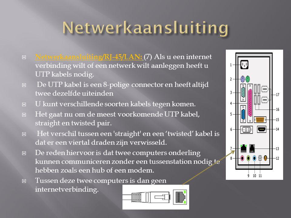  Netwerkaansluiting/RJ-45/LAN: (7) Als u een internet verbinding wilt of een netwerk wilt aanleggen heeft u UTP kabels nodig.