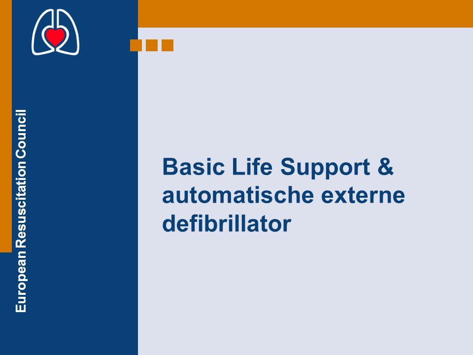 European Resuscitation Council GEEN SCHOK GEADVISEERD: Volg de instructies op, die de AED geeft: controleren en reanimeren 30 x 2 x