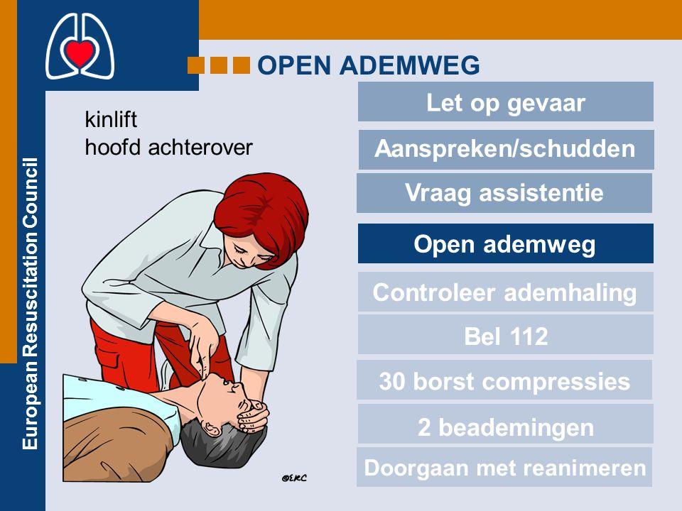 European Resuscitation Council OPEN ADEMWEG Let op gevaar Aanspreken/schudden Vraag assistentie Open ademweg Controleer ademhaling Bel 112 30 borst co