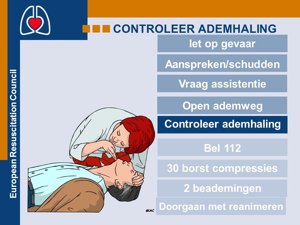 European Resuscitation Council CONTROLEER ADEMHALING let op gevaar Aanspreken/schudden Vraag assistentie Open ademweg Controleer ademhaling Bel 112 30 borst compressies 2 beademingen Doorgaan met reanimeren