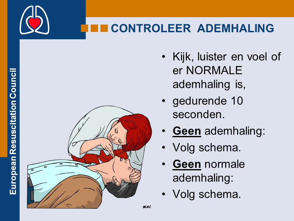 European Resuscitation Council CONTROLEER ADEMHALING Kijk, luister en voel of er NORMALE ademhaling is, gedurende 10 seconden. Geen ademhaling: Volg s