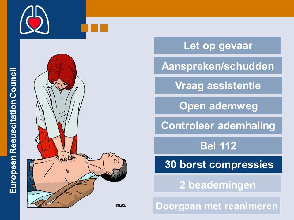 European Resuscitation Council Let op gevaar Aanspreken/schudden Vraag assistentie Open ademweg Controleer ademhaling Bel 112 30 borst compressies 2 b