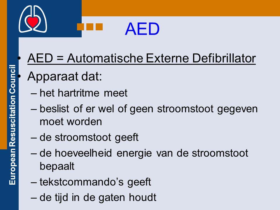 European Resuscitation Council AED AED = Automatische Externe Defibrillator Apparaat dat: –het hartritme meet –beslist of er wel of geen stroomstoot g