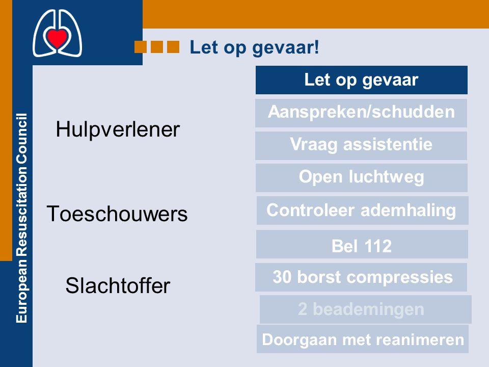 European Resuscitation Council REANIMATIE VOOR KINDEREN De reanimatie techniek voor kinderen: Borstcompressies : 1/3 van de hoogte van de borstkas indrukken Beademen: minder hard en kleinere hoeveelheid lucht