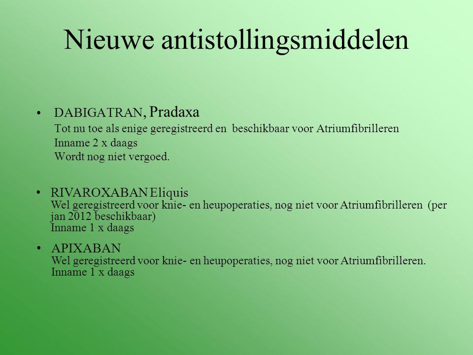 Nieuwe antistollingsmiddelen DABIGATRAN, Pradaxa Tot nu toe als enige geregistreerd en beschikbaar voor Atriumfibrilleren Inname 2 x daags Wordt nog n