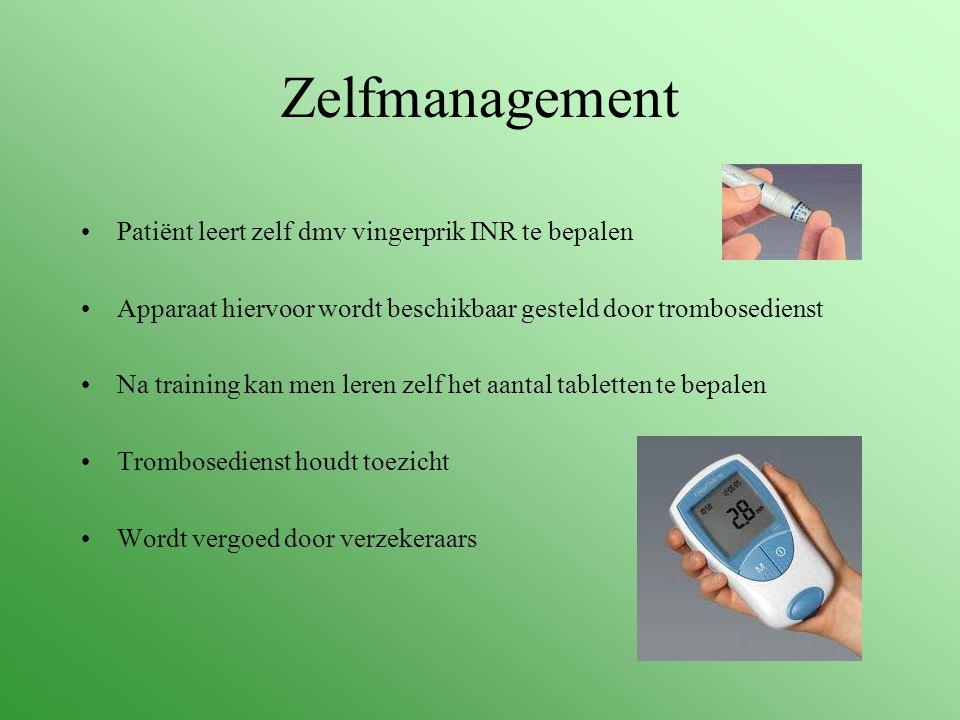 Zelfmanagement Patiënt leert zelf dmv vingerprik INR te bepalen Apparaat hiervoor wordt beschikbaar gesteld door trombosedienst Na training kan men le