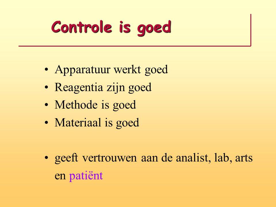 Controle is goed Controle is goed Apparatuur werkt goed Reagentia zijn goed Methode is goed Materiaal is goed geeft vertrouwen aan de analist, lab, ar