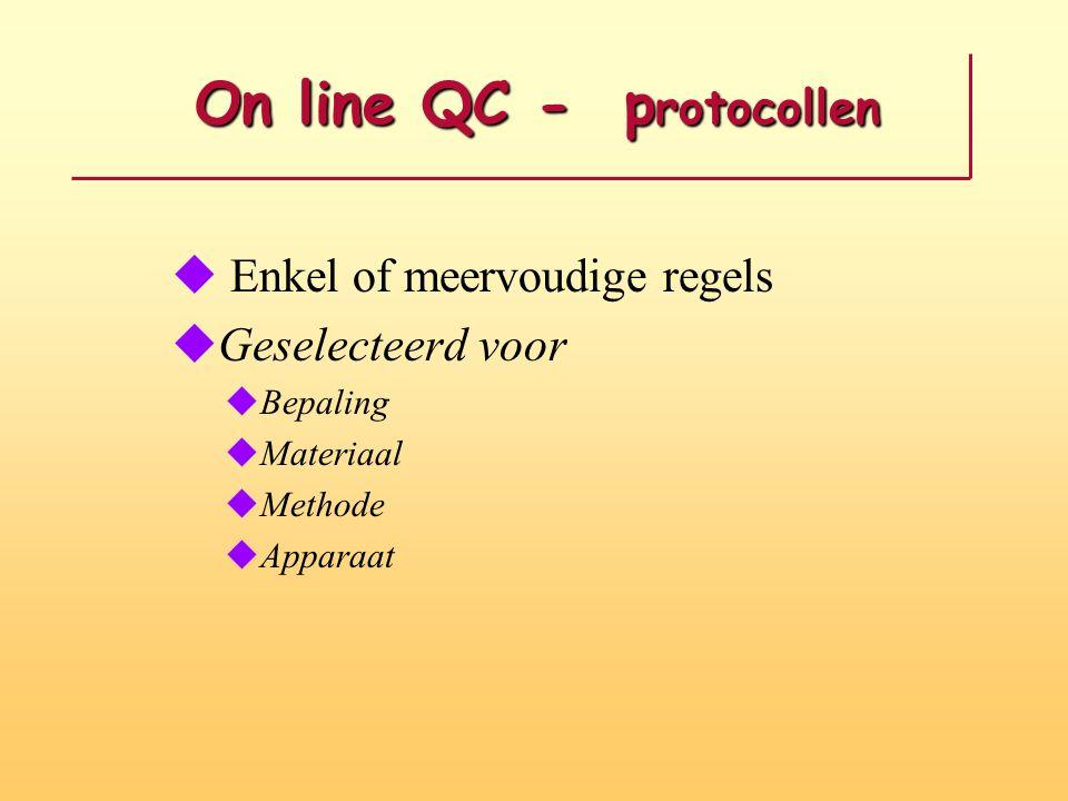 On line QC - p rotocollen On line QC - p rotocollen u Enkel of meervoudige regels uGeselecteerd voor uBepaling uMateriaal uMethode uApparaat