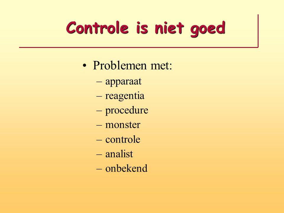 Controle is niet goed Controle is niet goed Problemen met: –apparaat –reagentia –procedure –monster –controle –analist –onbekend