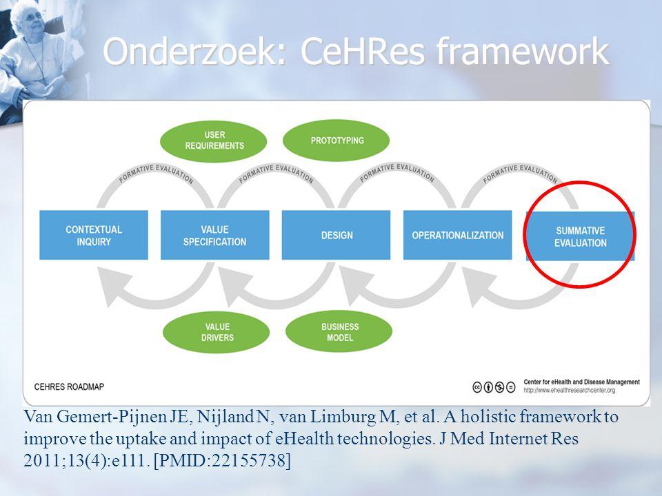 Onderzoek: CeHRes framework Van Gemert-Pijnen JE, Nijland N, van Limburg M, et al.