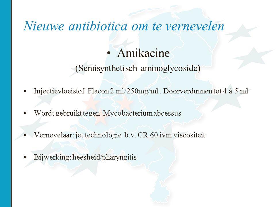 Nieuwe antibiotica om te vernevelen Amikacine (Semisynthetisch aminoglycoside) Injectievloeistof Flacon 2 ml/250mg/ml.