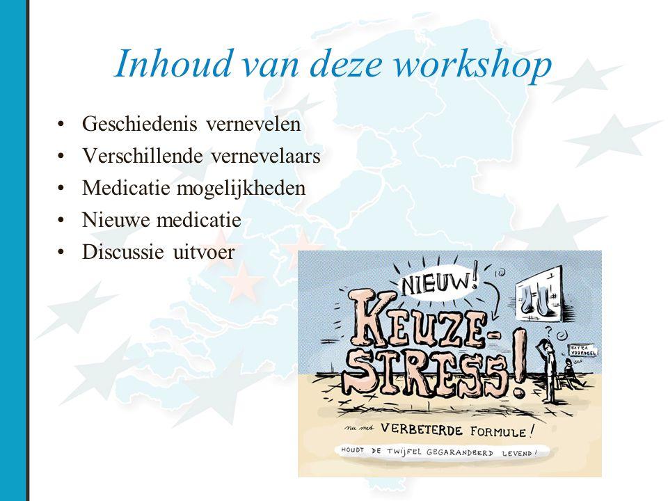 Inhoud van deze workshop Geschiedenis vernevelen Verschillende vernevelaars Medicatie mogelijkheden Nieuwe medicatie Discussie uitvoer