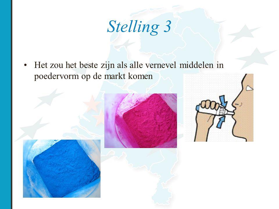 Stelling 3 Het zou het beste zijn als alle vernevel middelen in poedervorm op de markt komen