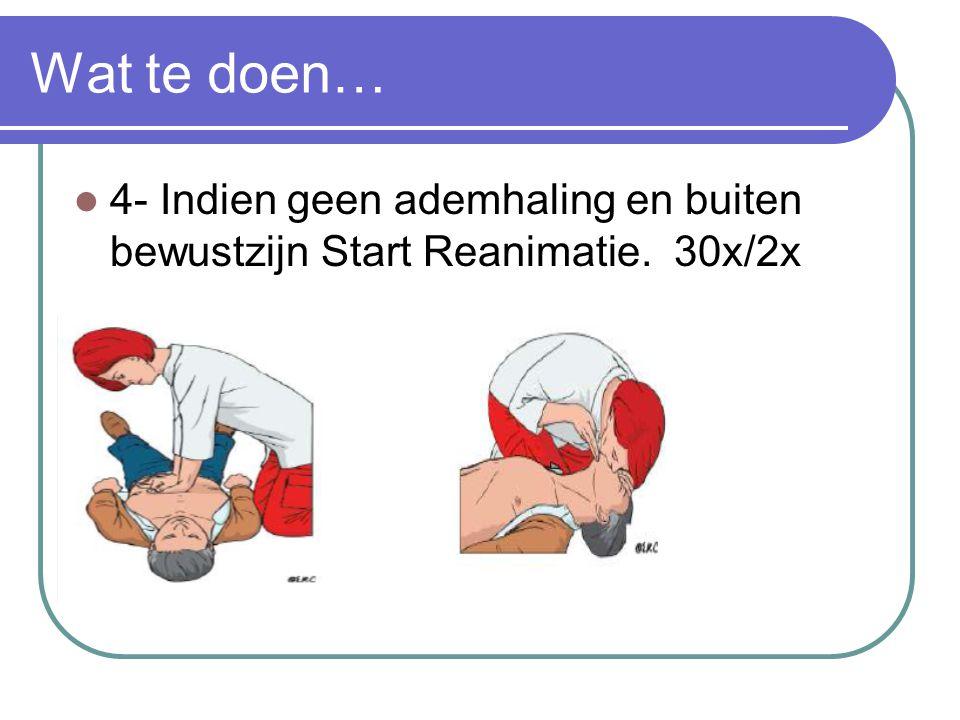 Wat te doen… 4- Indien geen ademhaling en buiten bewustzijn Start Reanimatie. 30x/2x
