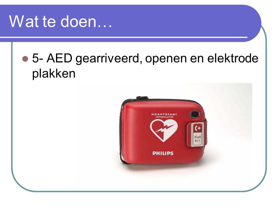 Wat te doen… 5- AED gearriveerd, openen en elektrode plakken