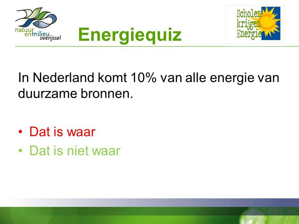 Energiequiz In Nederland komt 10% van alle energie van duurzame bronnen.
