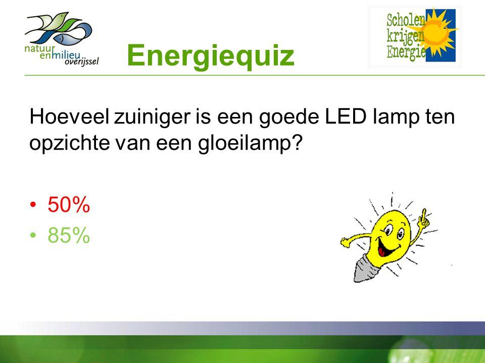 Energiequiz Hoeveel zuiniger is een goede LED lamp ten opzichte van een gloeilamp? 50% 85%