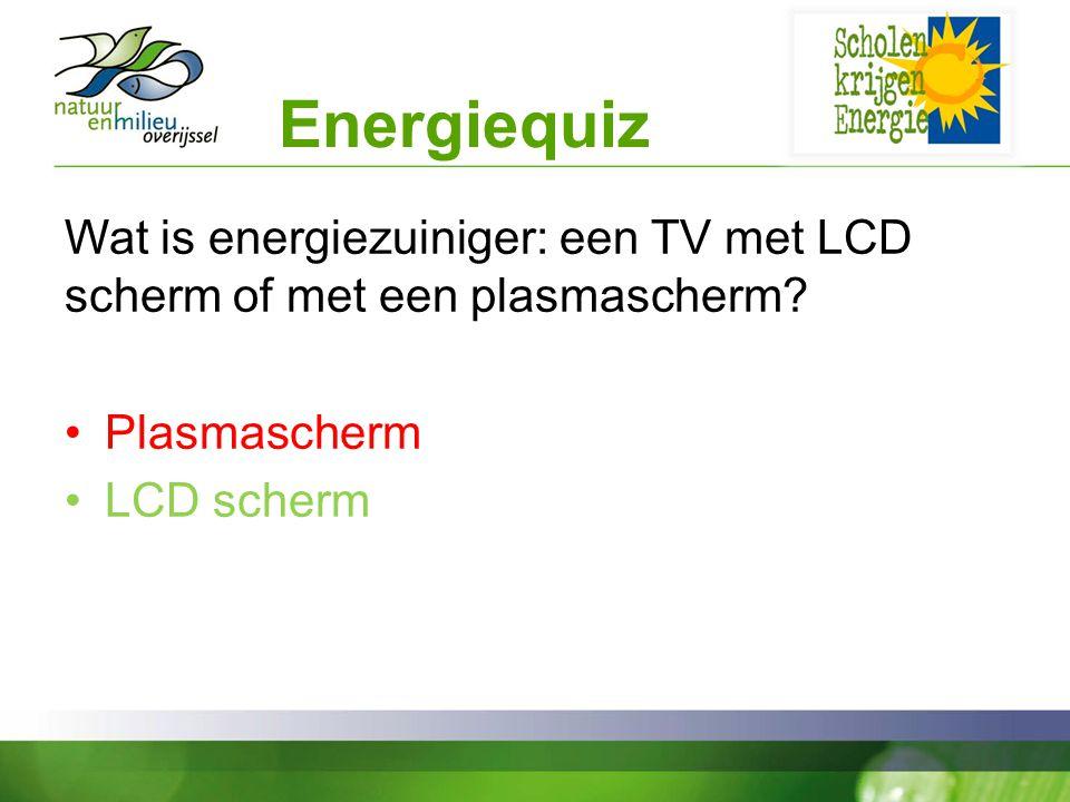 Energiequiz Wat is energiezuiniger: een TV met LCD scherm of met een plasmascherm.