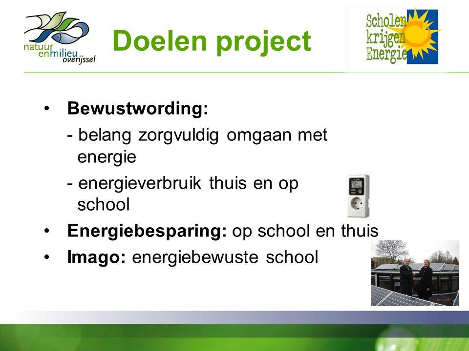 Doelen project Bewustwording: - belang zorgvuldig omgaan met energie - energieverbruik thuis en op school Energiebesparing: op school en thuis Imago: energiebewuste school