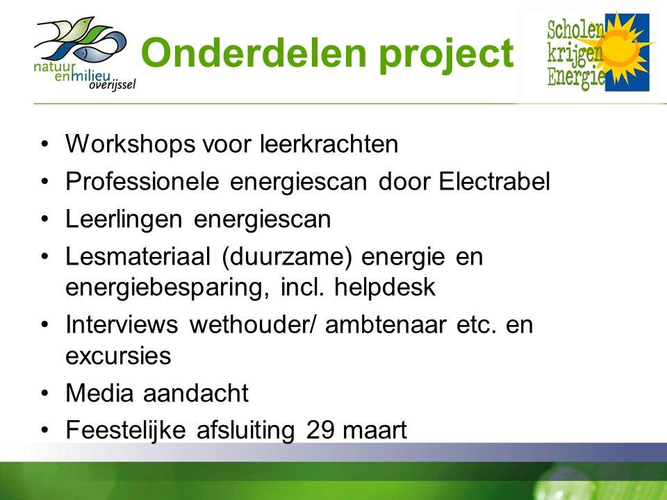 Onderdelen project Workshops voor leerkrachten Professionele energiescan door Electrabel Leerlingen energiescan Lesmateriaal (duurzame) energie en energiebesparing, incl.