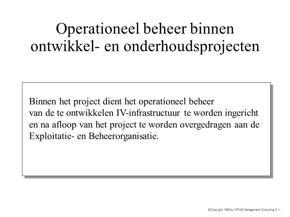 © Copyright 1998 by KPMG Management Consulting N.V. Operationeel beheer binnen ontwikkel- en onderhoudsprojecten Binnen het project dient het operatio