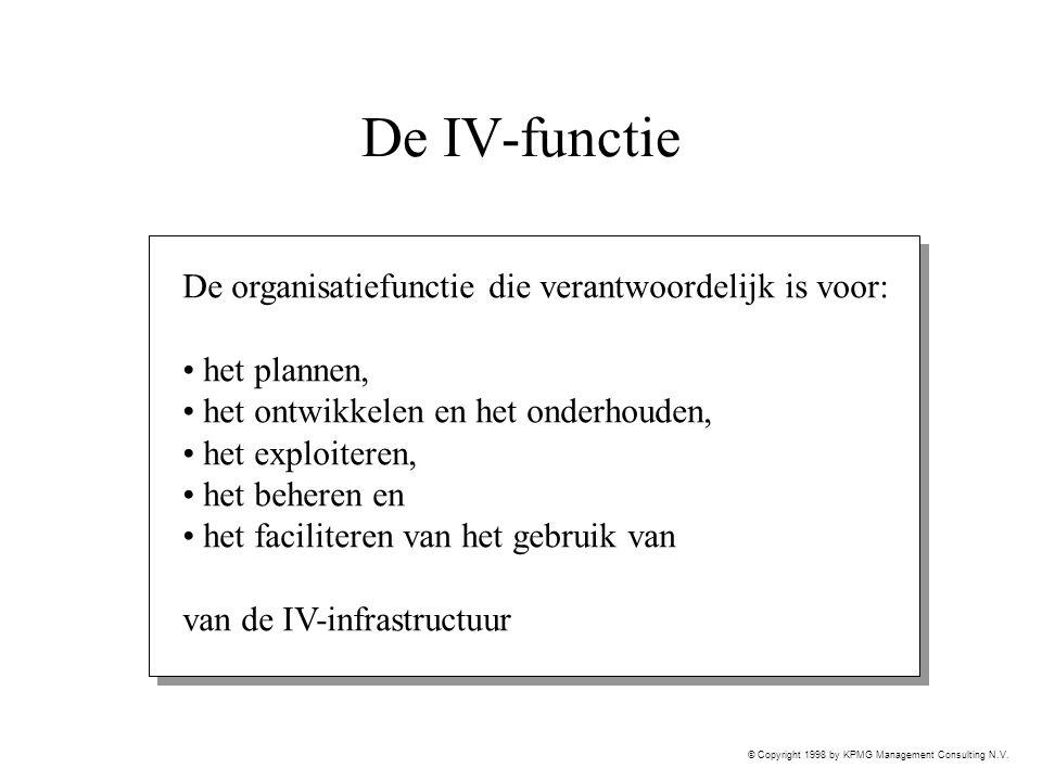 © Copyright 1998 by KPMG Management Consulting N.V. De IV-functie De organisatiefunctie die verantwoordelijk is voor: het plannen, het ontwikkelen en