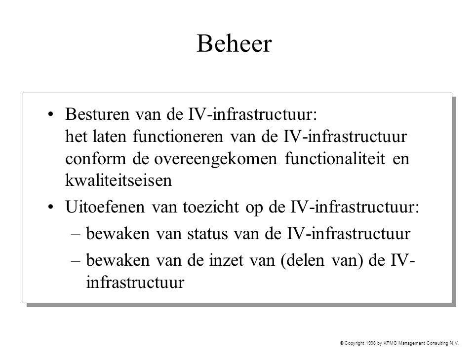 © Copyright 1998 by KPMG Management Consulting N.V. Beheer Besturen van de IV-infrastructuur: het laten functioneren van de IV-infrastructuur conform