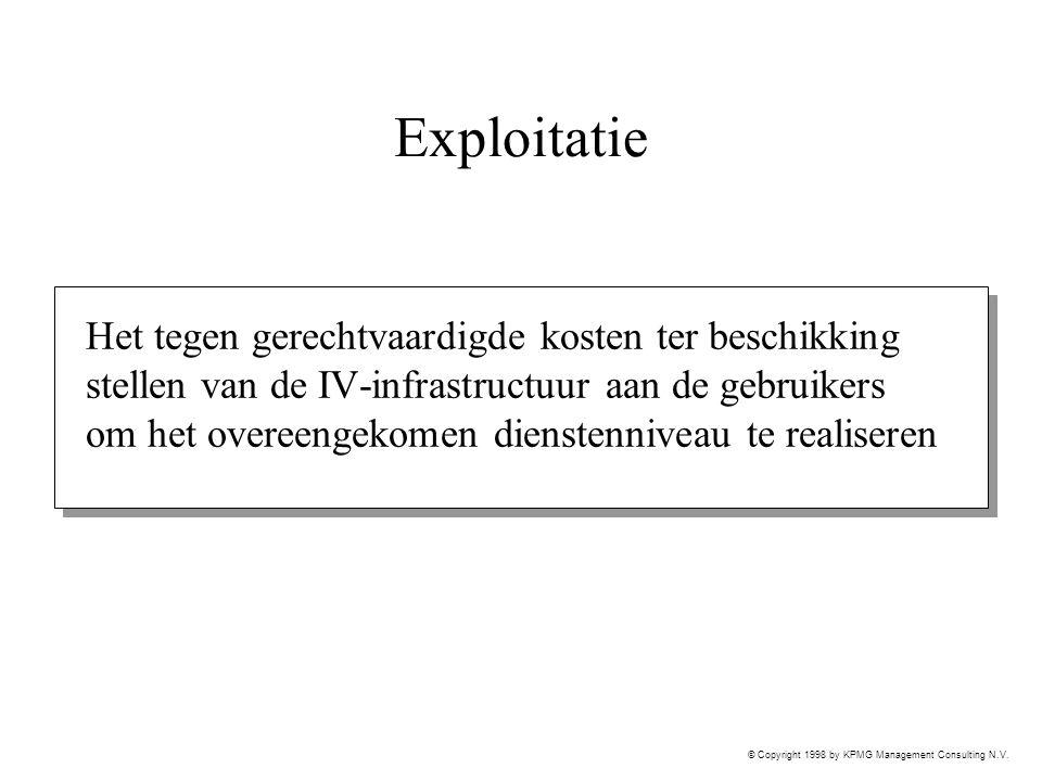 © Copyright 1998 by KPMG Management Consulting N.V. Exploitatie Het tegen gerechtvaardigde kosten ter beschikking stellen van de IV-infrastructuur aan