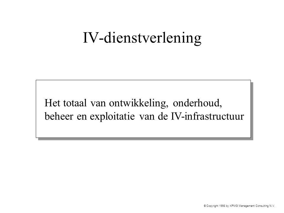 © Copyright 1998 by KPMG Management Consulting N.V. IV-dienstverlening Het totaal van ontwikkeling, onderhoud, beheer en exploitatie van de IV-infrast