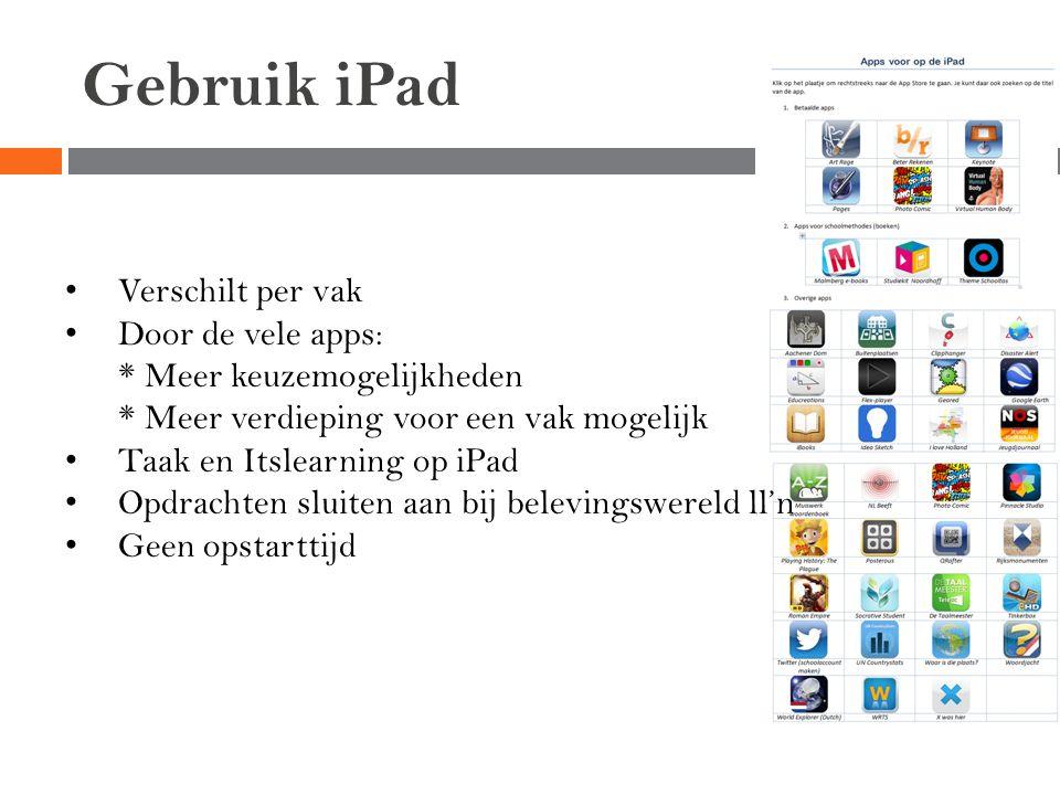 Gebruik iPad Verschilt per vak Door de vele apps: * Meer keuzemogelijkheden * Meer verdieping voor een vak mogelijk Taak en Itslearning op iPad Opdrac