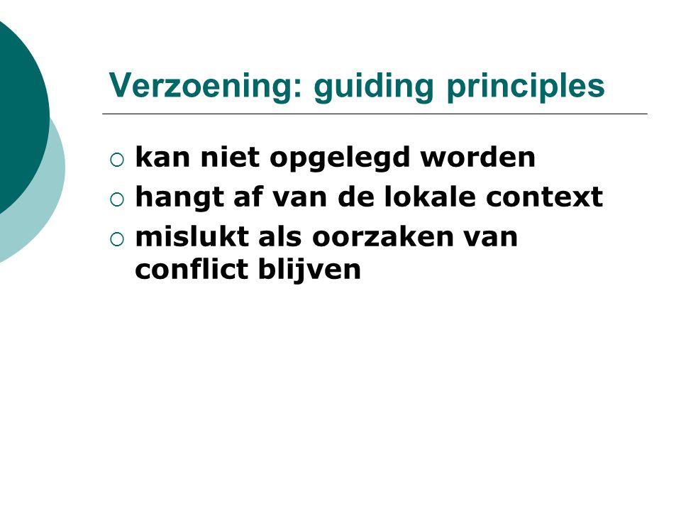 Verzoening: guiding principles  kan niet opgelegd worden  hangt af van de lokale context  mislukt als oorzaken van conflict blijven