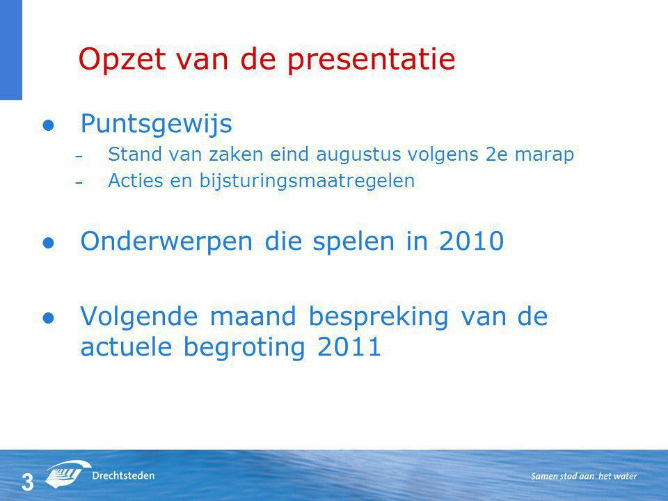 3 Opzet van de presentatie Puntsgewijs – Stand van zaken eind augustus volgens 2e marap – Acties en bijsturingsmaatregelen Onderwerpen die spelen in 2010 Volgende maand bespreking van de actuele begroting 2011