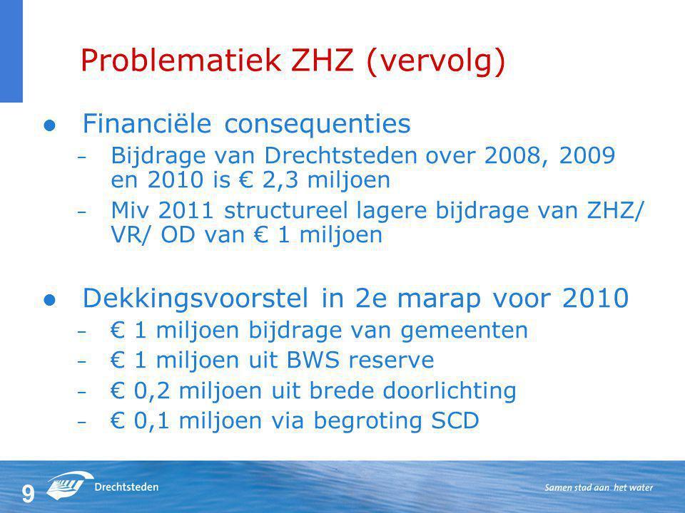 9 Problematiek ZHZ (vervolg) Financiële consequenties – Bijdrage van Drechtsteden over 2008, 2009 en 2010 is € 2,3 miljoen – Miv 2011 structureel lagere bijdrage van ZHZ/ VR/ OD van € 1 miljoen Dekkingsvoorstel in 2e marap voor 2010 – € 1 miljoen bijdrage van gemeenten – € 1 miljoen uit BWS reserve – € 0,2 miljoen uit brede doorlichting – € 0,1 miljoen via begroting SCD