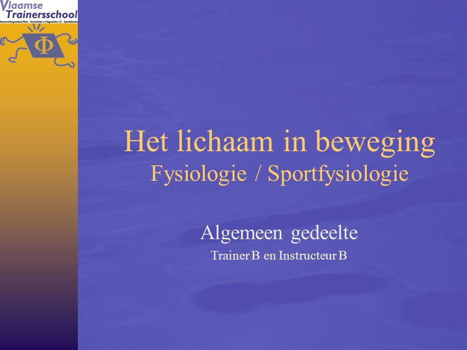 Het lichaam in beweging Fysiologie / Sportfysiologie Algemeen gedeelte Trainer B en Instructeur B