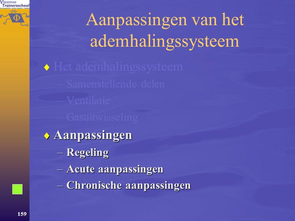 158 Gasuitwisseling  Ter hoogte van de longen –Zuurstof komt in het bloed –Koolstofdioxide wordt uitgeademd  Ter hoogte van de weefsels –Zuurstof wo