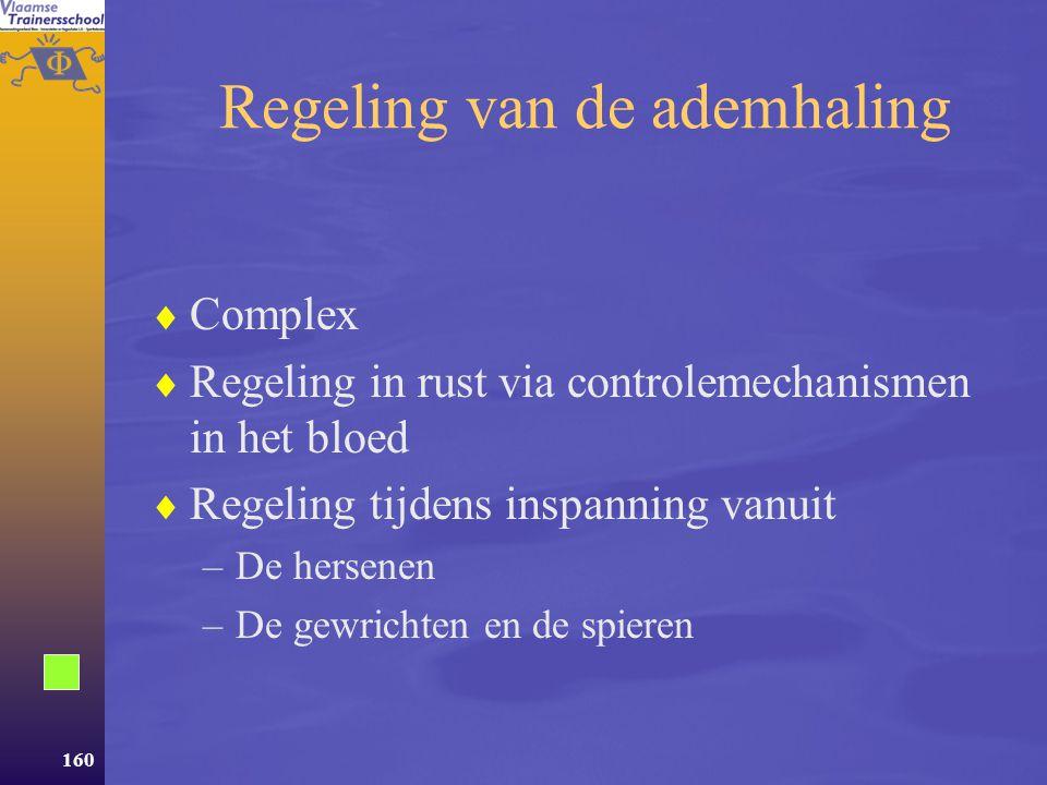 159 Aanpassingen van het ademhalingssysteem  Het ademhalingssysteem –Samenstellende delen –Ventilatie –Gasuitwisseling  Aanpassingen –Regeling –Acut